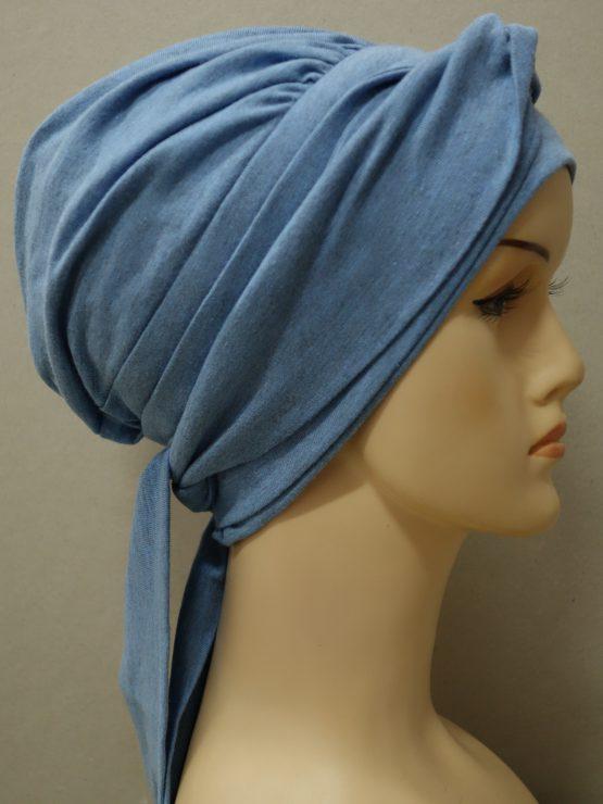 Niebieski melanż chusta modny wzór z dekoracją