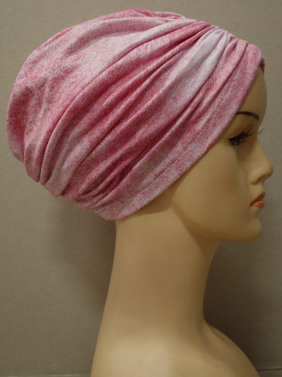 Różowy melanż czepek drapowany