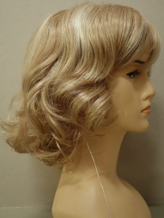 Krótka peruka blond kręcona na końcach