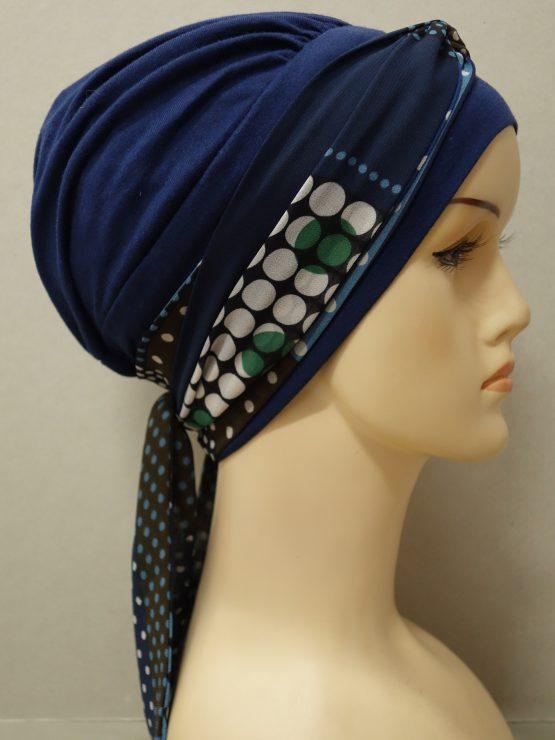 Granatowa chusta modny wzór z dekoracją w grochy