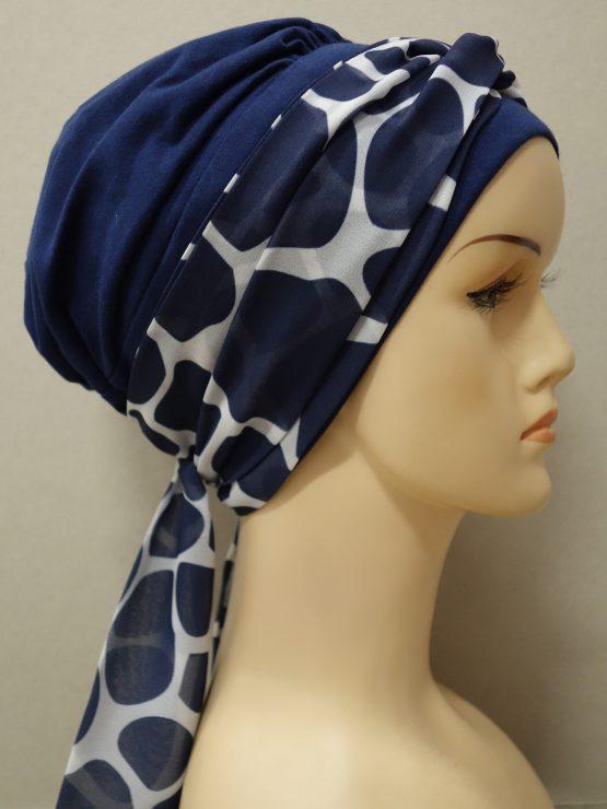 Granatowa chusta modny wzór z marmurkową dekoracją