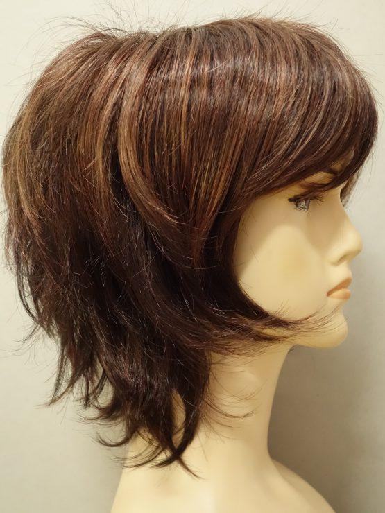 Krótka peruka orzechowa wycieniowana