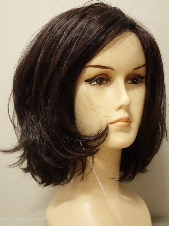 Półdługa peruka ciemny brąz pofalowana