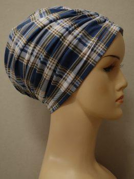 Błękitno-niebieska krata czepek drapowany