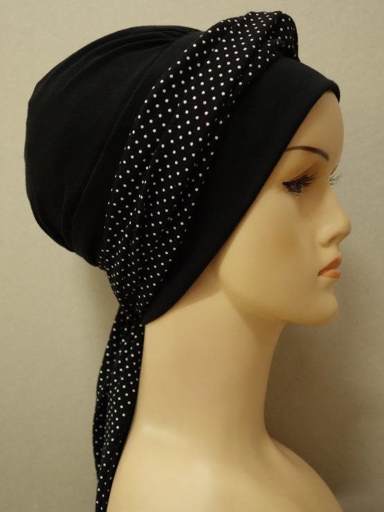 Czarna chusta modny wzór z dekoracją w groszki