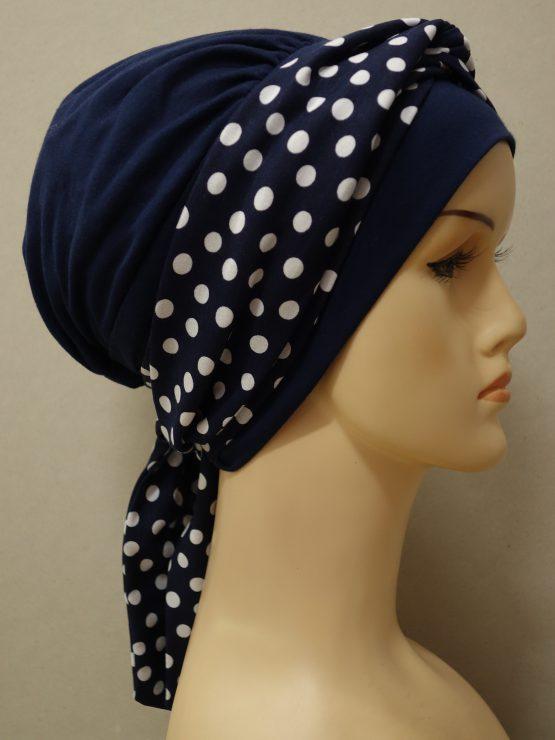 Granatowa chusta modny wzór z dekoracją w groszki