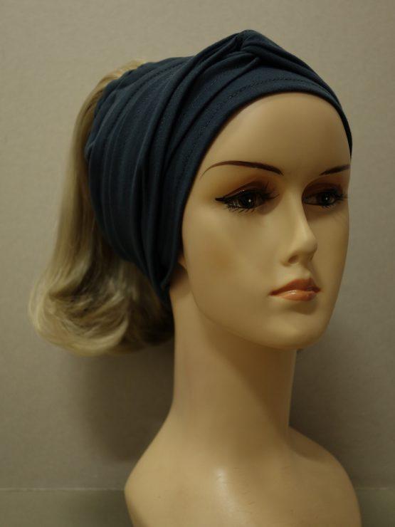 Włosy na opasce - półdługie blond na grafitowej opasce