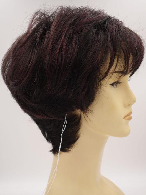 Krótka peruka ciemny brąz z refleksami oberżyny