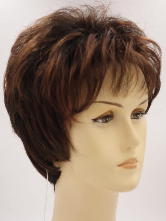 Krótka peruka brąz z kasztanowymi refleksami