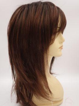 Długa peruka brąz z rudymi pasemkami