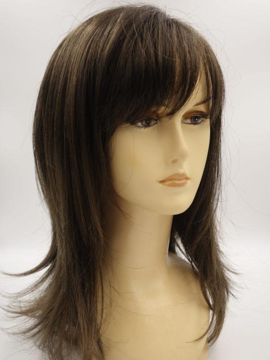 Długa peruka w kolorze brązowym
