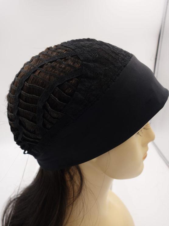 Długa peruka na opasce ciemny brąz