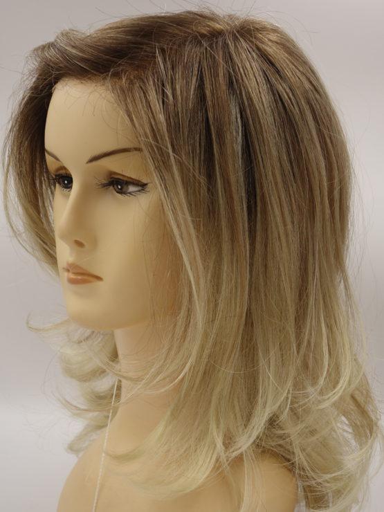 Długa peruka jasny blond z refleksami