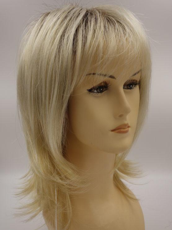 Półdługa peruka jasny blond na ciemniejszej podstawie