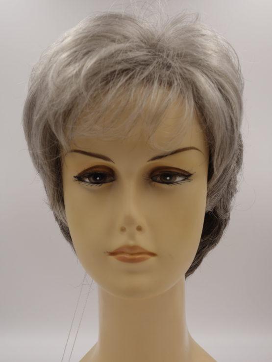 Krótka peruka siwa lekko kręcona