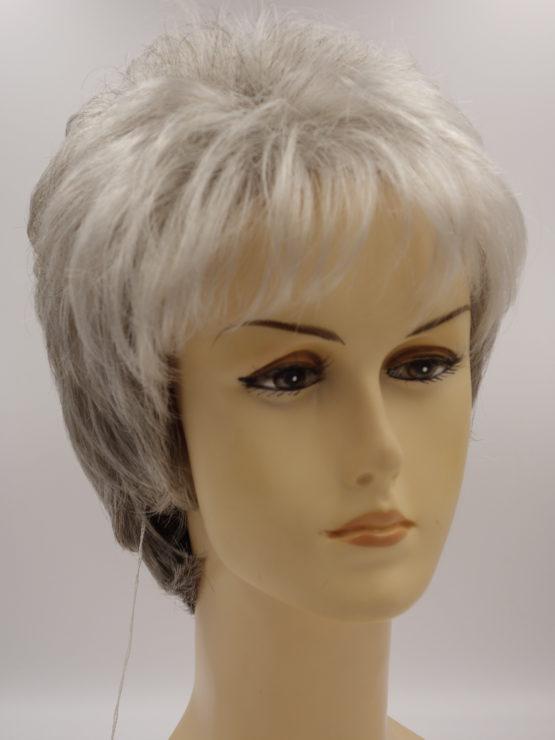 Krótka peruka siwa z jaśniejszą grzywką