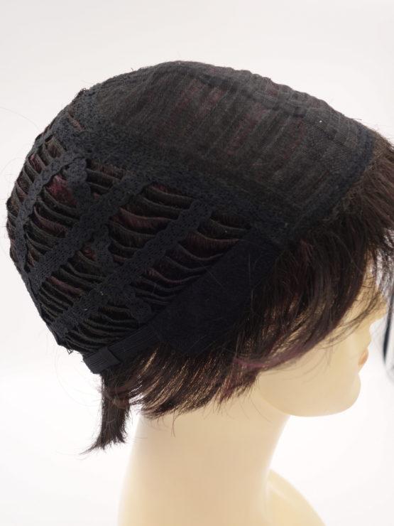 Krótka peruka ciemny brąz z refleksami w kolorze oberżyny