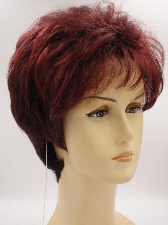 Krótka peruka czerwona oberżyna