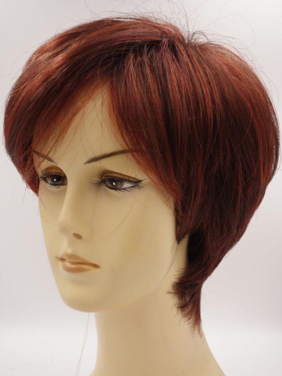 Krótka peruka czerwień z refleksami asymetryczna