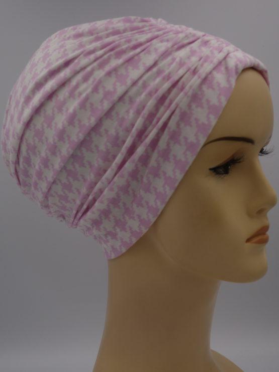 Różowo-biały czepek drapowany