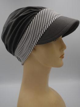 Ciemny popiel modna czapka z daszkiem z rantem w paski