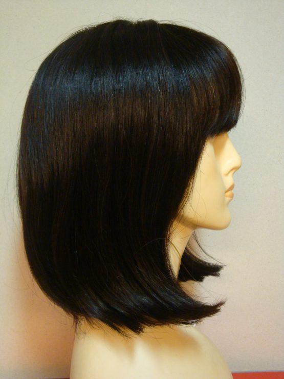 Półdługa peruka z włosów naturalnych ciemny brąz