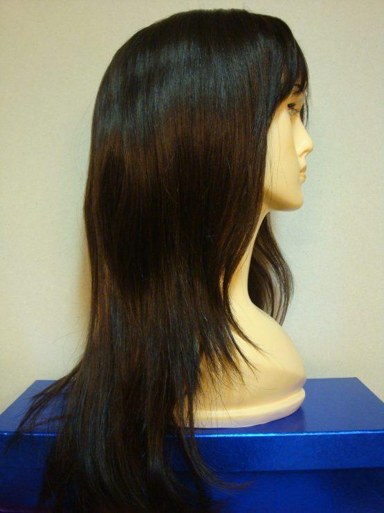 Długa peruka z włosów naturalnych czekoladowa