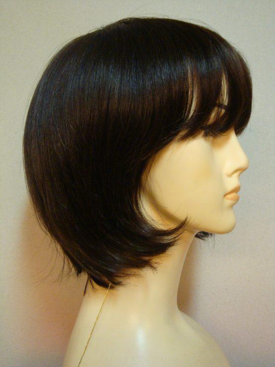 Krótka peruka z włosów naturalnych czekoladowa