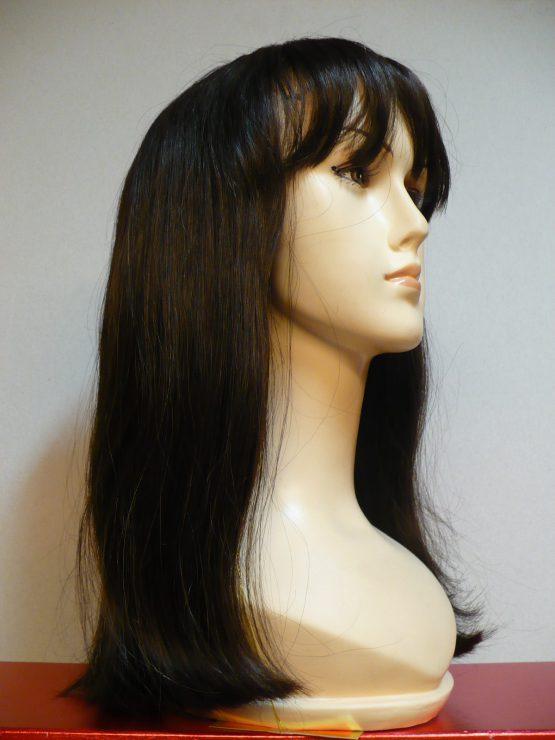 Długa peruka z włosów naturalnych czekoladowy brąz