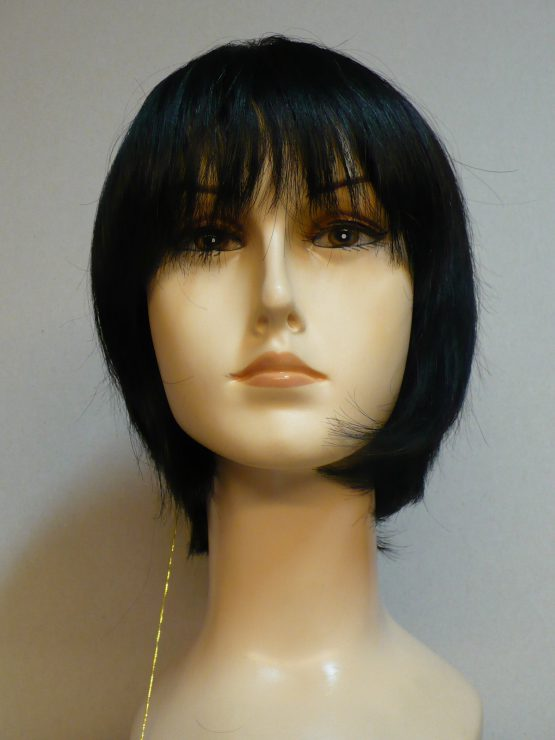 Krótka peruka z włosów naturalnych czarna