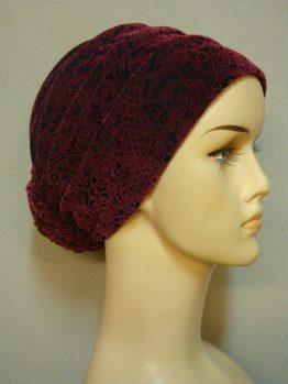 Bordowy turban na bawełnianej podstawie