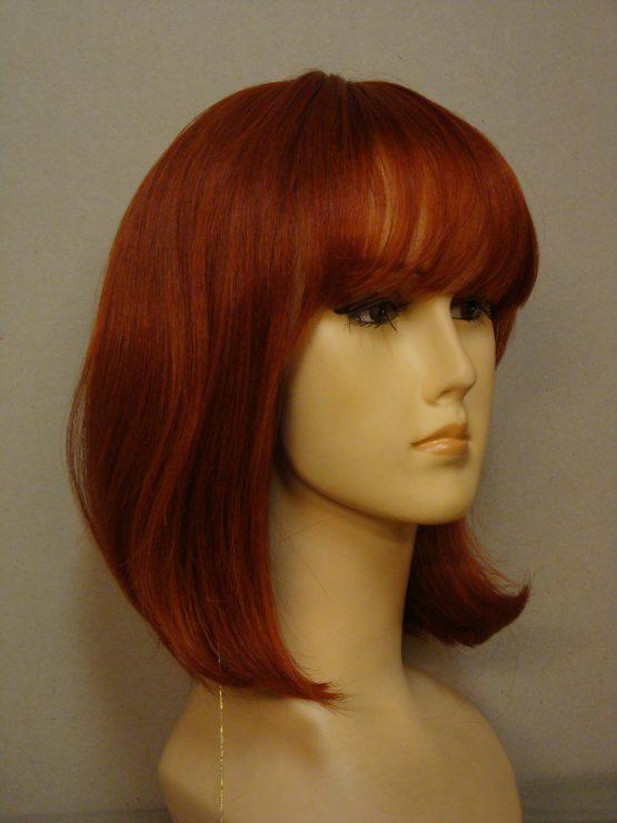 Półdługa peruka z włosów naturalnych intensywnie rudy