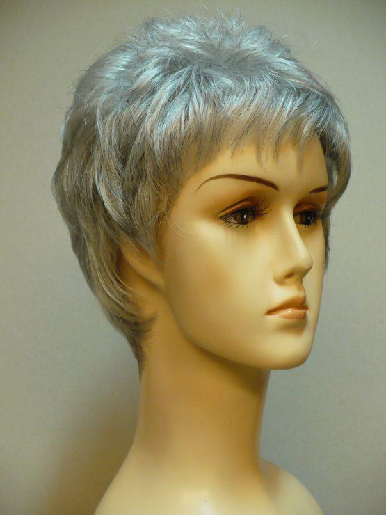 Krótka peruka srebrna wycieniowana