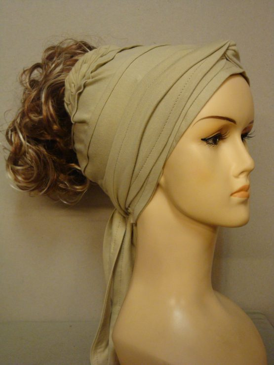 Włosy na opasce - kręcony brąz z blondem