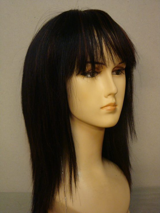 Długa naturalna peruka w kolorze czarnym z refleksami