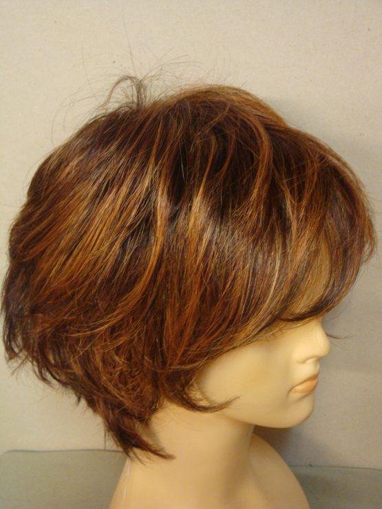 Krótka peruka ruda z pasemkami