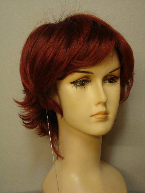 Krótka peruka ognista czerwień