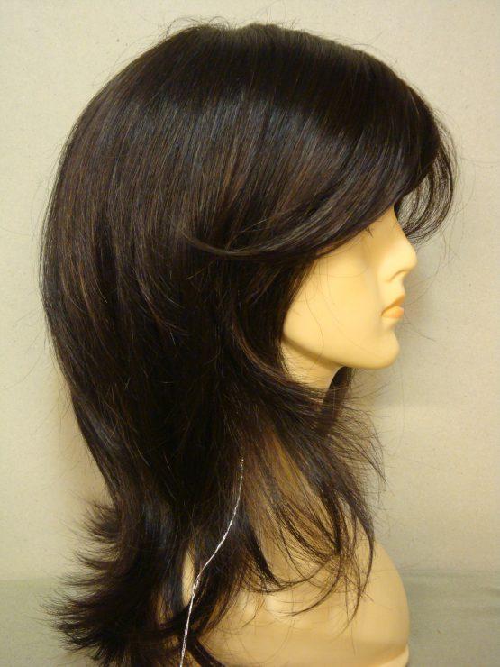 Półdługa peruka w kolorze głębokiego brązu