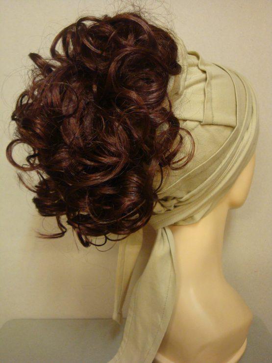 Włosy na opasce - półdługie rude loki
