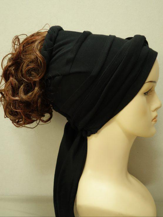 Włosy na opasce - kręcone brązowe z refleksami