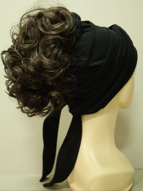 Włosy na opasce - kręcone brązowe