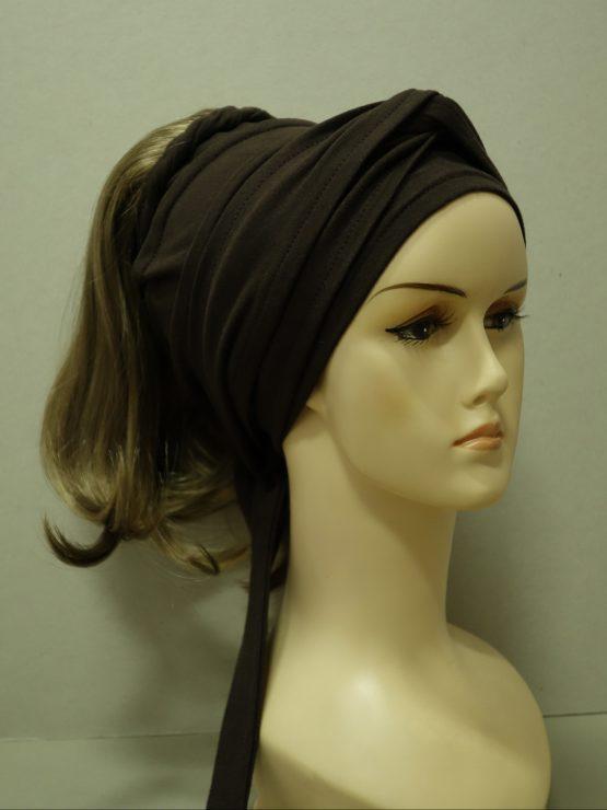 Włosy na opasce - proste brąz z refleksami