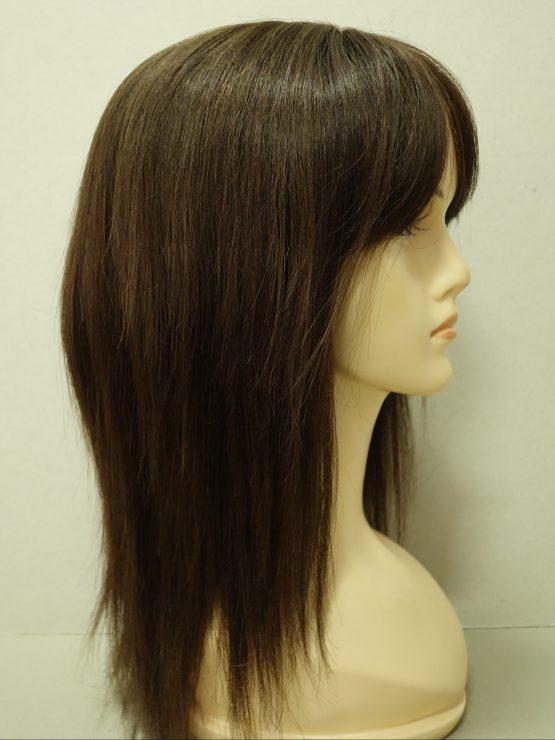 Długa naturalna peruka w kolorze ciemnego brązu