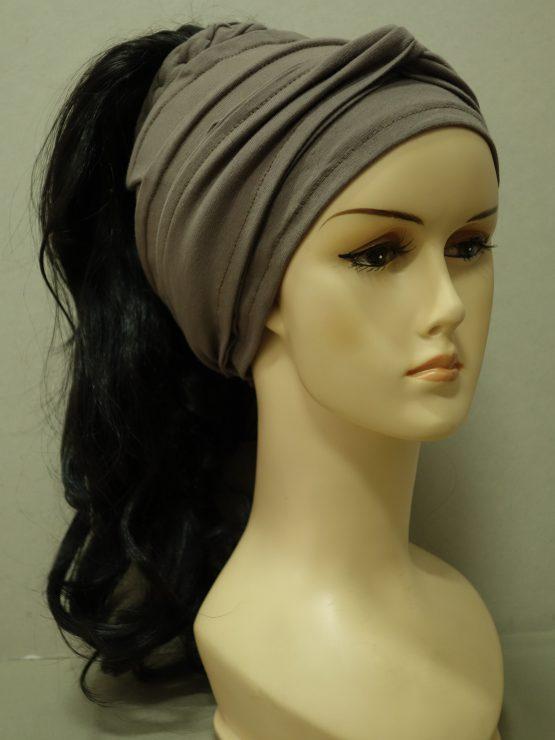 Włosy na opasce - delikatnie falowane ciemny brąz z warkoczykami