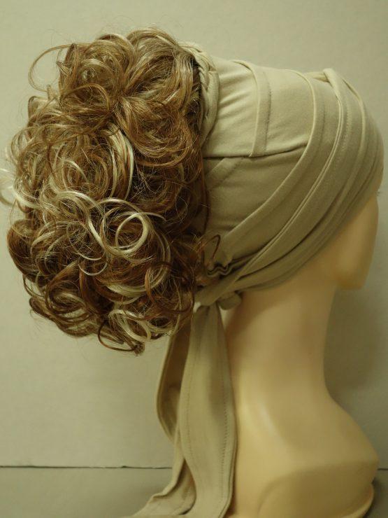 Włosy na opasce - kręcone koniakowy z pasemkami