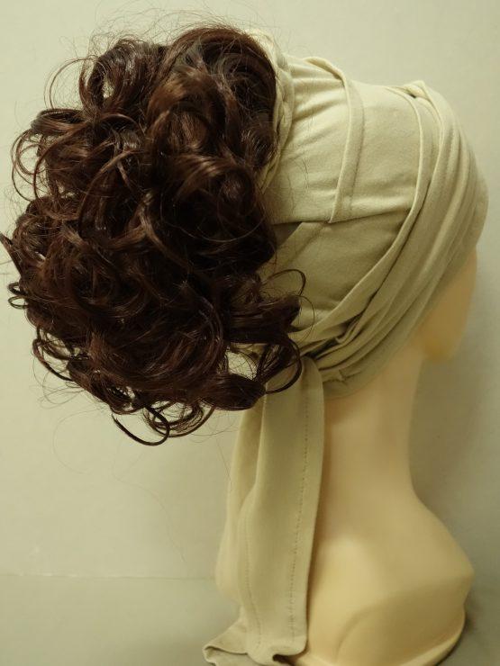 Włosy na opasce - kręcone kasztanowe