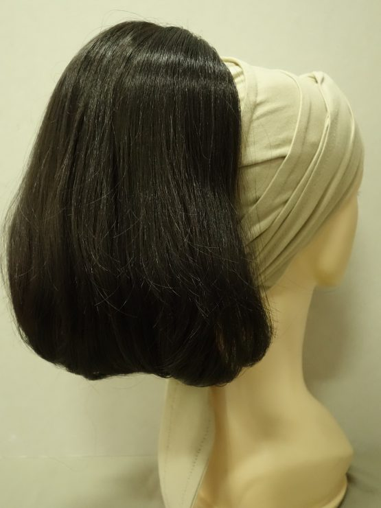 Włosy na opasce - proste ciemny brąz
