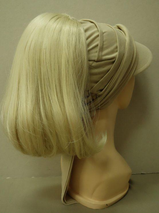 Włosy na opasce z daszkiem - proste jasny blond