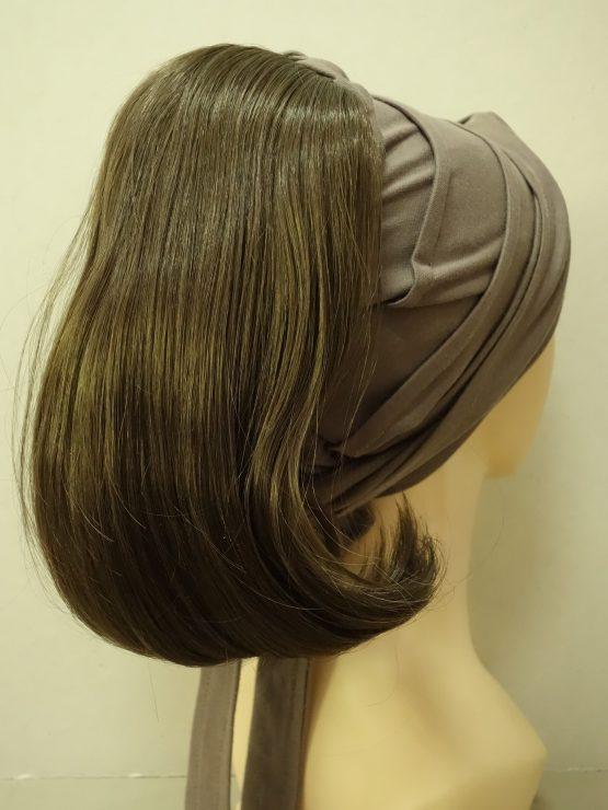 Włosy na opasce - proste brązowe