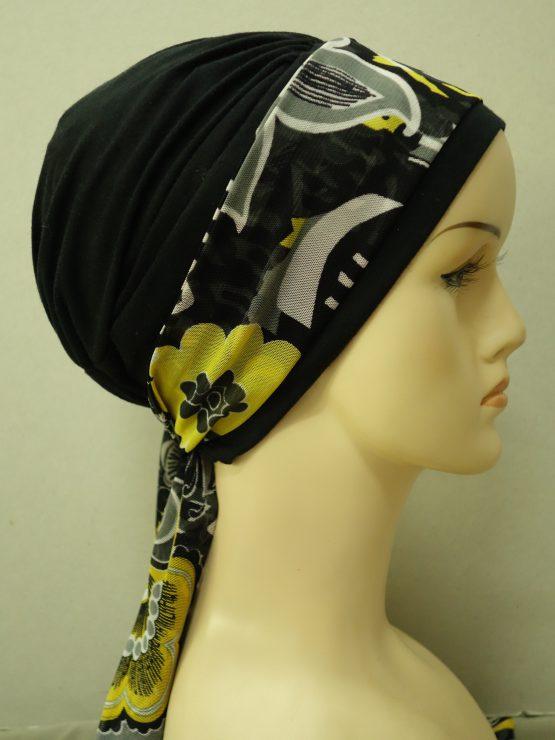 Czarna chusta modny wzór z wzorzystą dekoracją